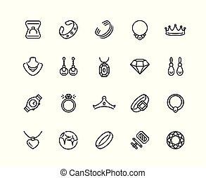 スタイル, セット, 宝石類, ベクトル, アイコン, アウトライン