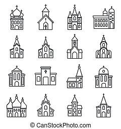 スタイル, セット, 教会, 宗教, アウトライン, アイコン