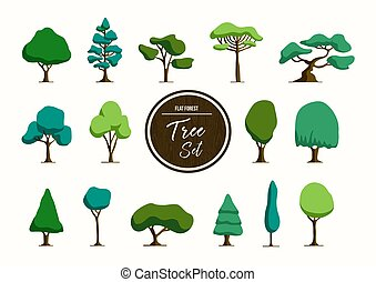 スタイル, セット, 木, イラスト, 手, 緑, 引かれる