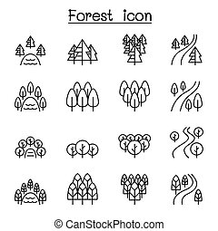 スタイル, セット, 森林, 川, 公園, 湖, 薄いライン, 風景, アイコン