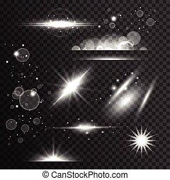 スタイル, セット, 火炎信号, 効果, レンズ, きらめく, ライト, 透明