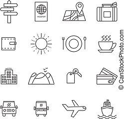 スタイル, セット, 線である, 旅行, 最新流行である, 観光事業, アイコン