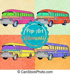 スタイル, セット, 芸術, elements., バス, ポンとはじけなさい, ベクトル