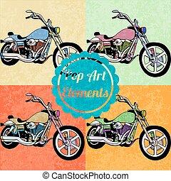 スタイル, セット, 芸術, elements., ポンとはじけなさい, ベクトル, モーターバイク
