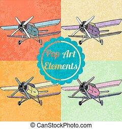 スタイル, セット, 芸術, elements., ポンとはじけなさい, ベクトル, 飛行機
