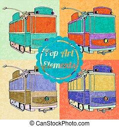 スタイル, セット, 芸術, elements., ポンとはじけなさい, 市街電車, ベクトル