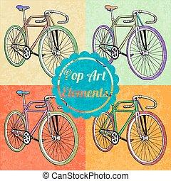 スタイル, セット, 芸術, elements., ポンとはじけなさい, bicycles, ベクトル