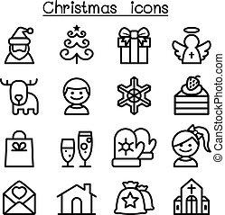 スタイル, セット, 薄いライン, クリスマス, アイコン