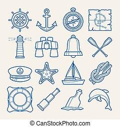 スタイル, セット, 薄いライン, 海洋, アイコン