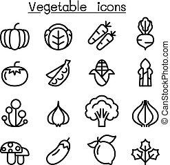 スタイル, セット, 薄くなりなさい, 野菜, 線, アイコン