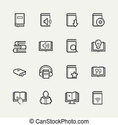 スタイル, セット, 関係した, ベクトル, 薄いライン, 読書, アイコン