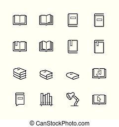 スタイル, セット, 関係した, 線, 読書, アイコン