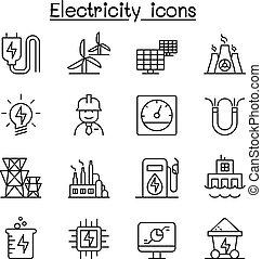 スタイル, セット, 電気, 産業, 薄いライン, アイコン