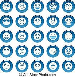 スタイル, セット, 青, 単純である, ベクトル, 微笑, アイコン