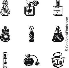 スタイル, セット, 香水, 単純である, びん, アイコン
