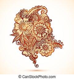 スタイル, セット, hand-drawn, indian, 装飾, mehndi