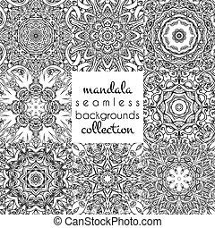 スタイル, セット, seamless, パターン, ベクトル, mandala