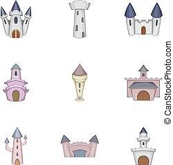 スタイル, タワー, アイコン, セット, 城, 漫画