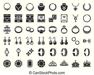 スタイル, ダイヤモンド, 宝石類, 関係した, アイコン, glyph