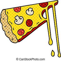 スタイル, チーズが多い, 本, quirky, 漫画, 漫画, ピザ
