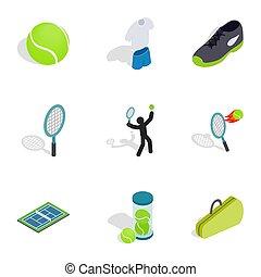 スタイル, テニス, 3d, 等大, アイコン