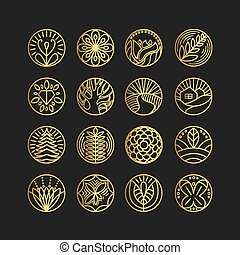 スタイル, テンプレート, 黒い背景, 紋章, ロゴ, セット, 線である, ベクトル, 金, 最新流行である, デザイン, 色
