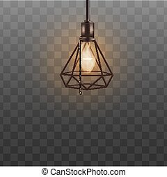 スタイル, デザイナー, 三角形, 屋根裏, 天井, ランプのかさ, 現実的, ランプ, ダイヤモンド, 情報通, 形, 内部, 黒, design.