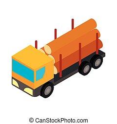 スタイル, トラック, 等大, 伐採, 3d, アイコン