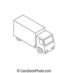 スタイル, トラック, 等大, 3d, アイコン