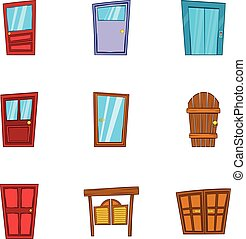 スタイル, ドア, アイコン, セット, セキュリティー, 漫画