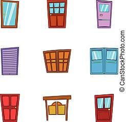 スタイル, ドア, アイコン, セット, 前部, 漫画
