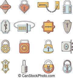 スタイル, ドア, アイコン, セット, 錠, 漫画, タイプ