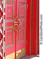 スタイル, ドア, 木製である, 型, 仏教, 色, 門, 寺院, 赤