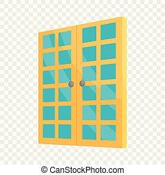 スタイル, ドア, 部屋, ダブル, アイコン, 漫画