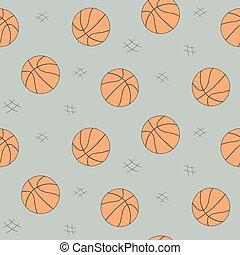 スタイル, バスケットボール, sketch., elements., パターン, seamless, ボール, 手, 背景, ベクトル, 網, コレクション, 引かれる, スポーツ