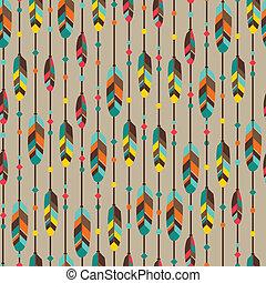 スタイル, パターン, feathers., seamless, 民族, ネイティブ