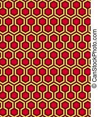 スタイル, パターン, seamless, イラスト, ベクトル, 背景, 六角形, 赤, ハチの巣