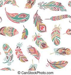スタイル, パターン, seamless, 羽, ボヘミアン
