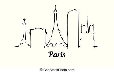 スタイル, パリ, 隔離された, イラスト, 1(人・つ), バックグラウンド。, スケッチ, 線, 白