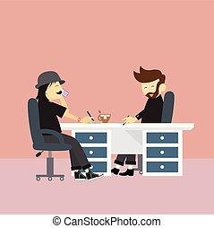 スタイル, ビジネスオフィス, 管理, 漫画, ミーティング, 労働者