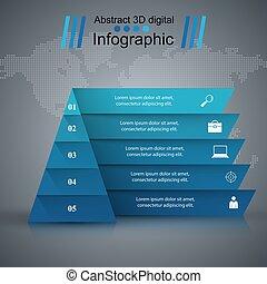 スタイル, ピラミッド, illustration., ビジネス, ベクトル, infographics, origami