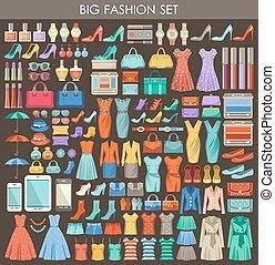 スタイル, ファッション, セット, 平ら, 大きい, design.