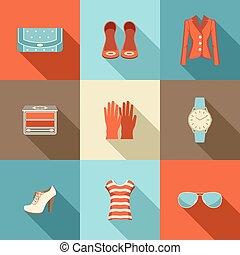 スタイル, ファッション, セット, 平ら, design.