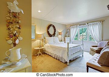 スタイル, ファッション, 古い, 寝室, 内部, 白