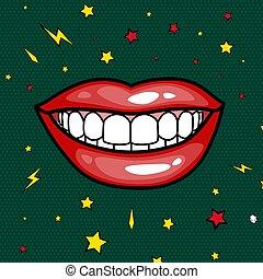 スタイル, ファッション, 芸術, 口紅, ステッカー, 女の子, イラスト, パッチ, 唇, ベクトル, ポンとはじけなさい, コレクション, バッジ, 涼しい, 漫画, 赤, レトロ
