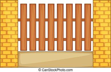 スタイル, フェンス, 木製である, 柱, れんが, 漫画, アイコン