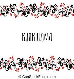 スタイル, フレーム, カード, khokhloma