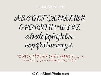 スタイル, ブラシ, handdrawn, textured, font., ベクトル, カリグラフィー, 筆記体, 原稿, typeface.