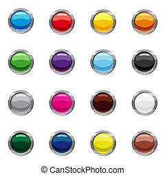 スタイル, ブランク, 漫画, ラウンド, ボタン, 網, セット, アイコン