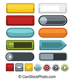 スタイル, ブランク, 網, ボタン, セット, 色, アイコン, 平ら